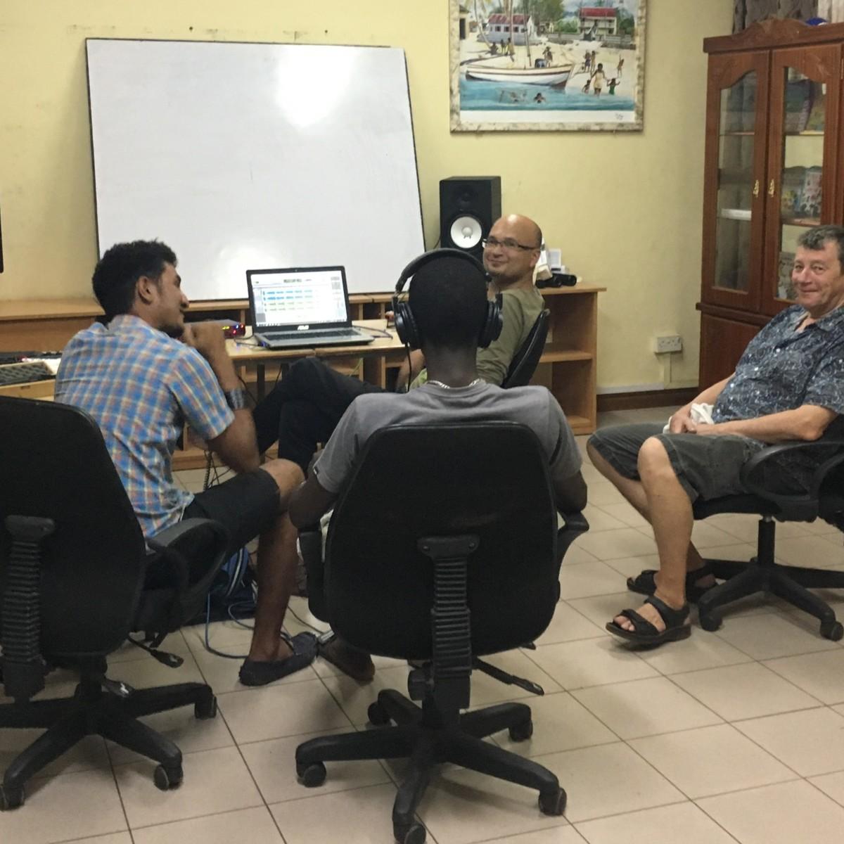Philippe de Magnée, Denis Essoo and Live Top Crew Team recording Leritaz Kiltir Chagossien