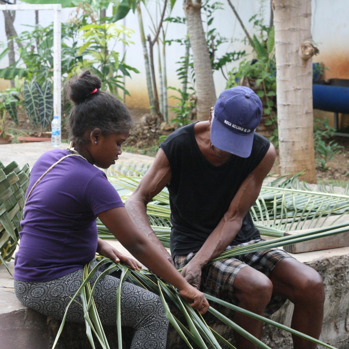 Basket weaving lesson