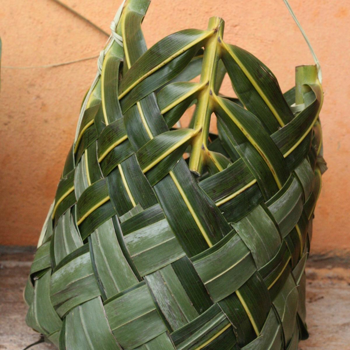 Coconut frond basket