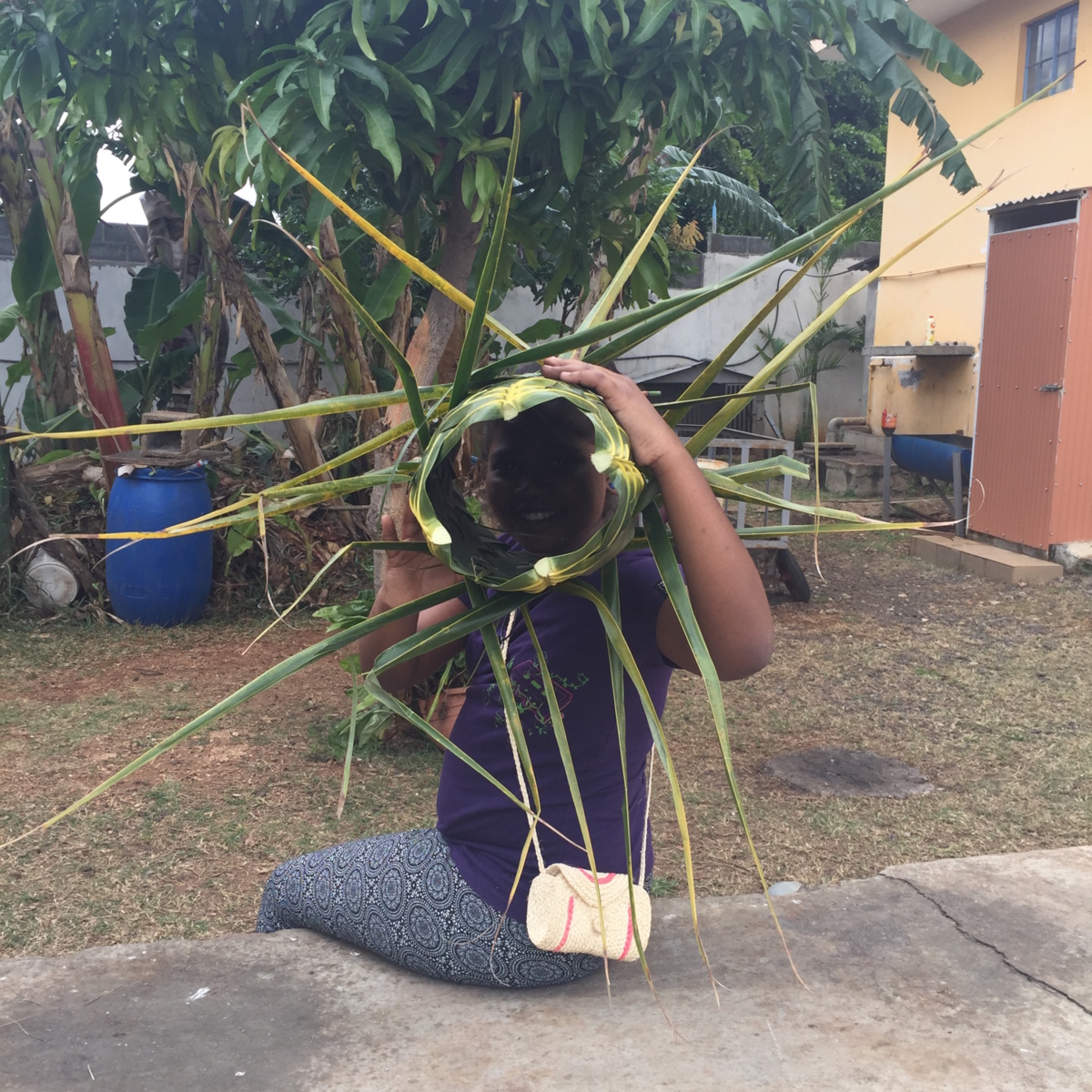 Basket weaving with coconut frond